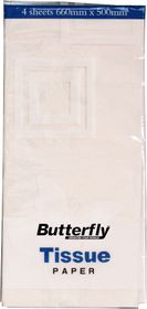 Butterfly Tissue Paper 4 Sheets - White (T20)
