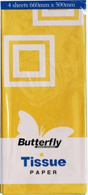 Butterfly Tissue Paper 4 Sheets - Yellow (T30)