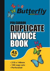 Butterfly A5 Duplicate Book - Invoice 200 Sheets