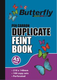 Butterfly A5 Duplicate Book - Feint Plain 200 Sheets