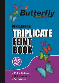Butterfly A5 Triplicate Book - Feint 300 Sheets