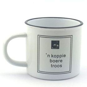 Pamper Hamper - N Koppie Boere Troos Mug - Black and White