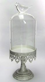 Pamper Hamper - Cake Stand With Glass Dome Lid - Bird Handle - Antique