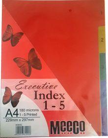 Meeco Executive A4 5 Tab (1-5) Multi Colour Indexes