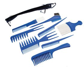 Lucky 8 Piece Comb Set with Storage Pouch - Blue