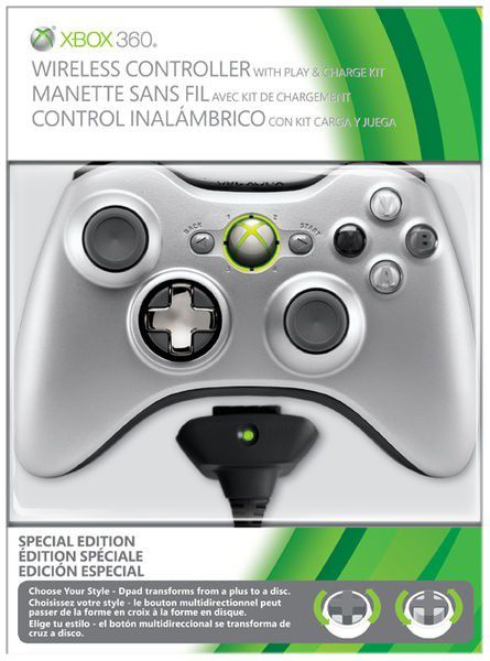 Official Xbox 360 Wireless Controller (silver) With Play And Charge ...
