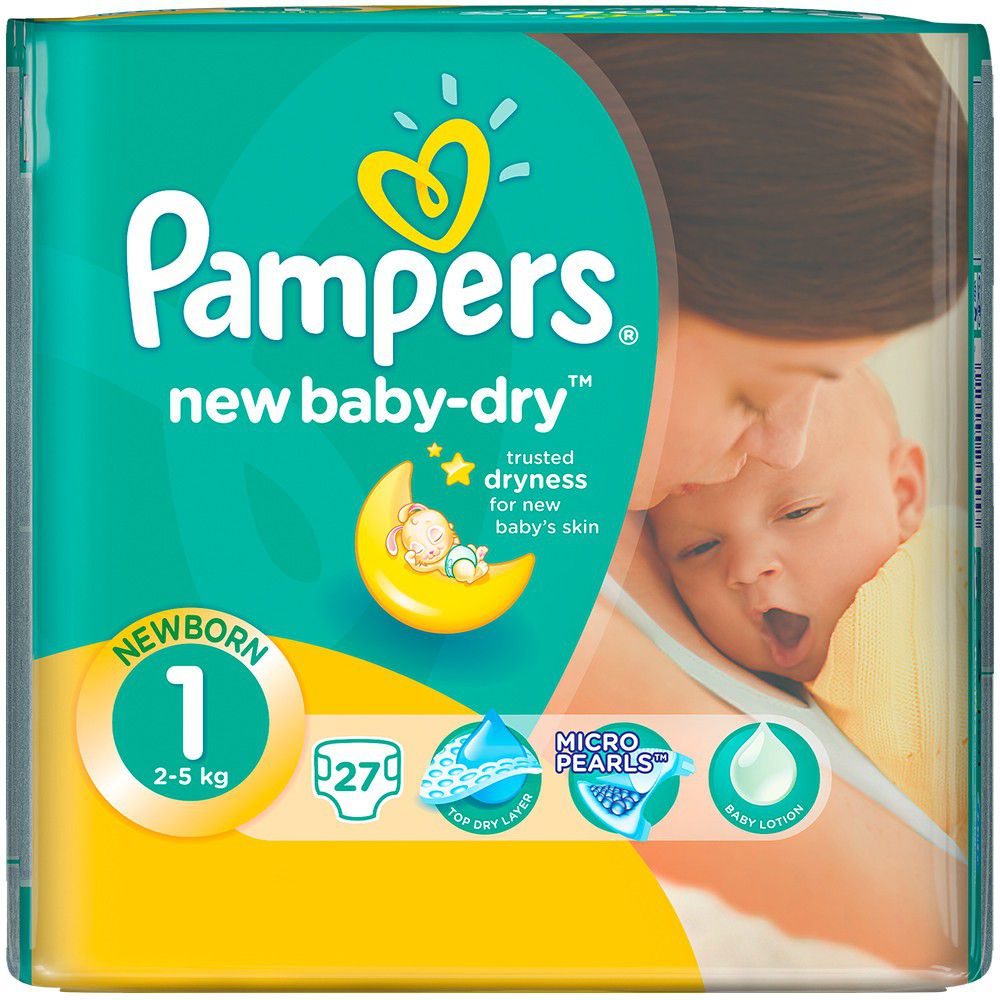 pampers new baby 27 nappies size 1 carry pack buy. Black Bedroom Furniture Sets. Home Design Ideas
