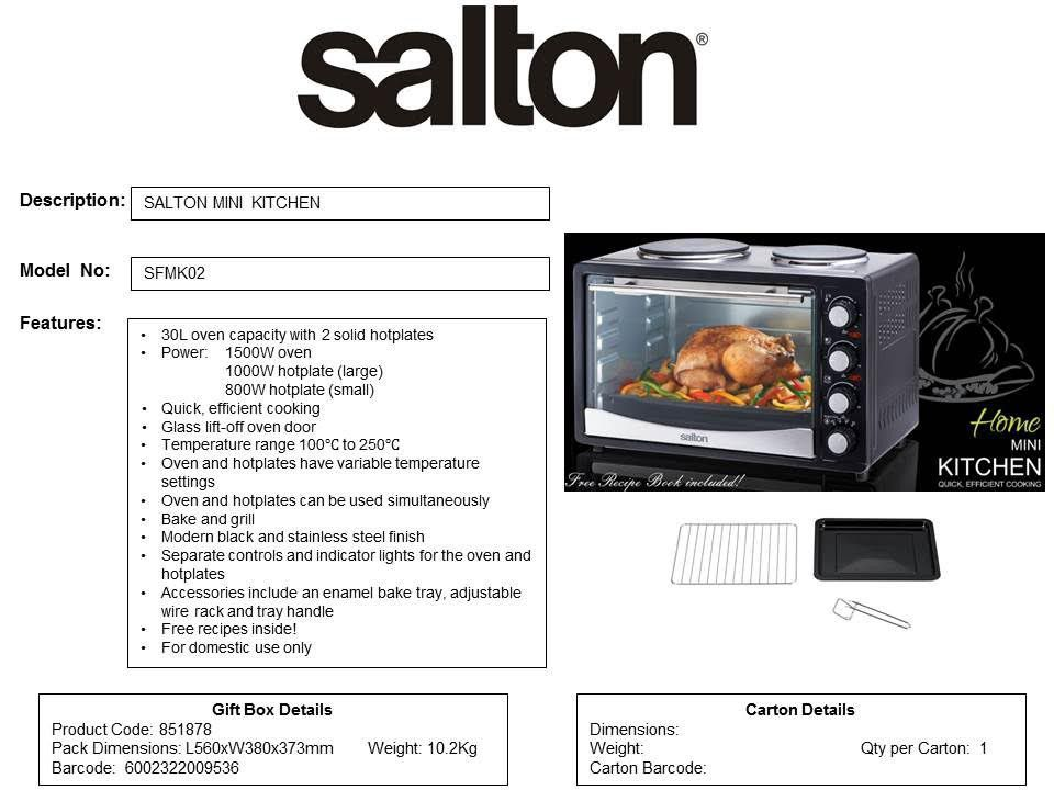 Salton 30 Litre Mini Kitchen Oven 851878 Buy Online