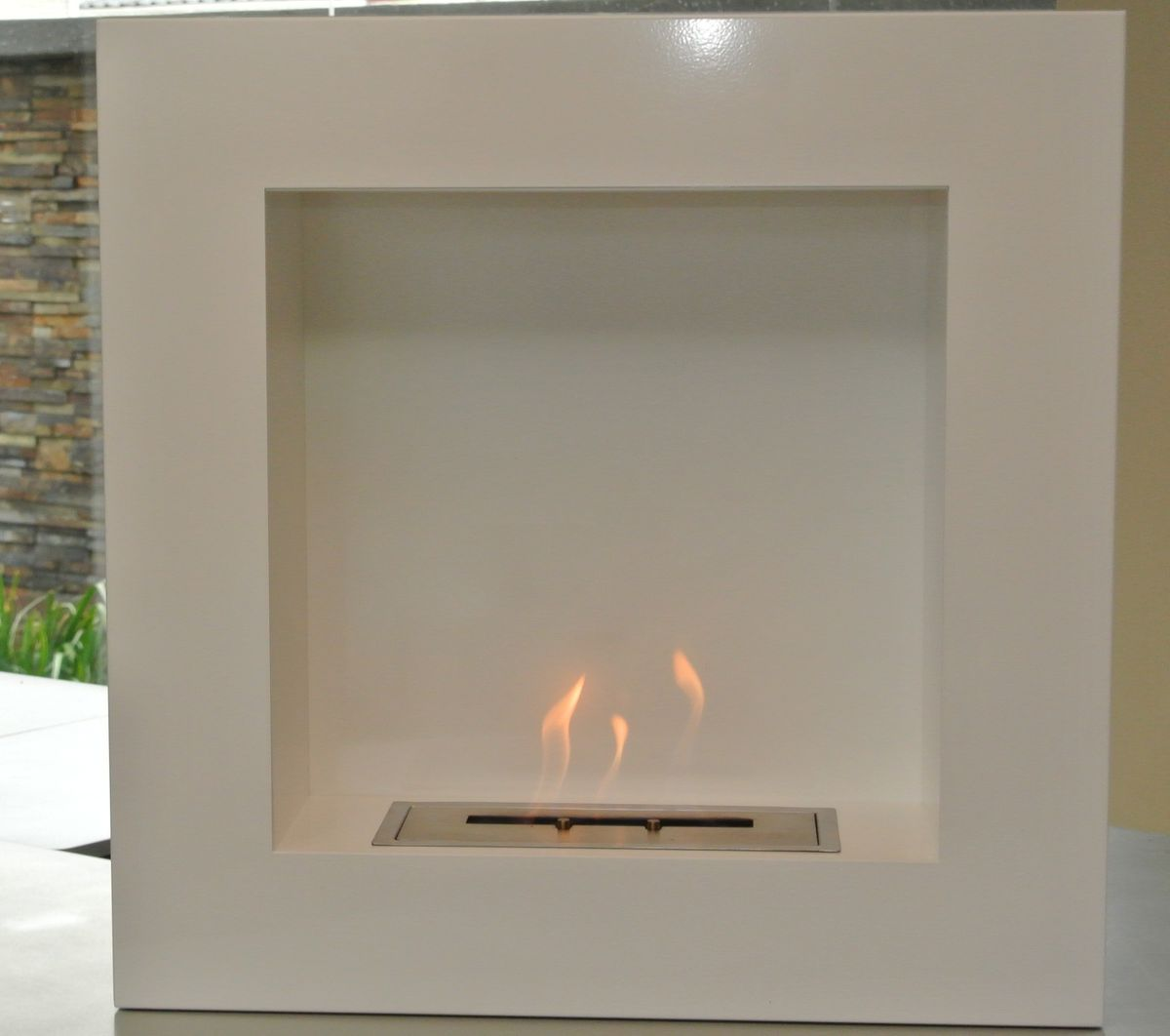 1green Wall Mounted Bio ethanol Fireplace White