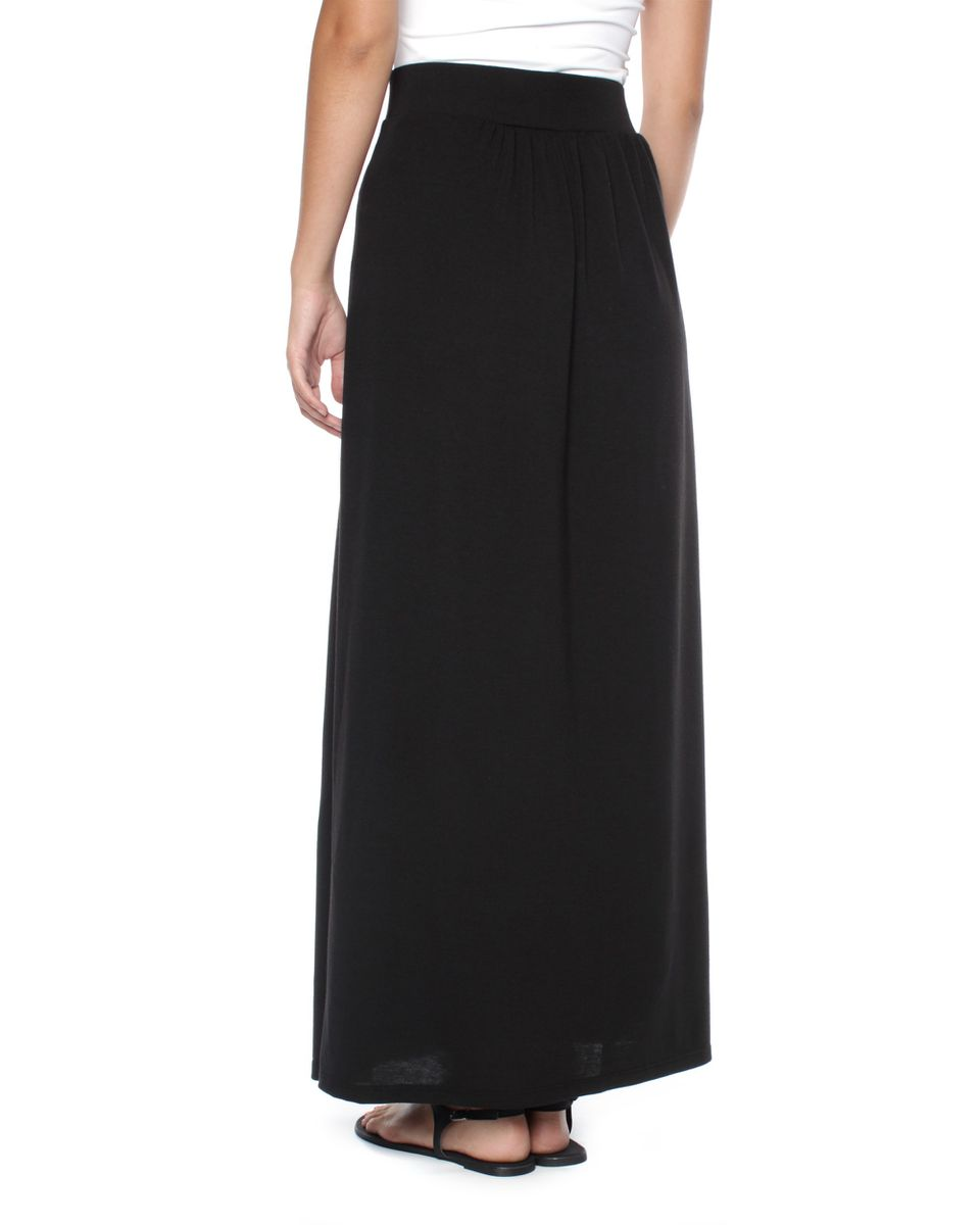 Scroll Print Maxi Skirt: This attractive pull-on maxi skirt features a flat front with back elastic for comfort. Allover scroll print and a longer length for added style. Allover .