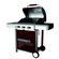 Alva - Enamel Hooded 3 Burner Gas Grill - Burgundy