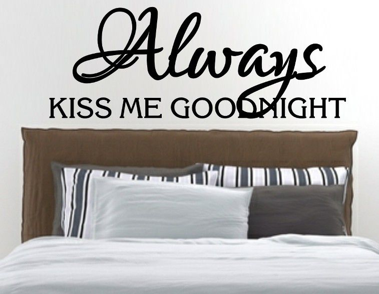 Always Kiss Me Goodnight Wall Art vinyl lady decals vinyl lady always kiss me goodnight romantic