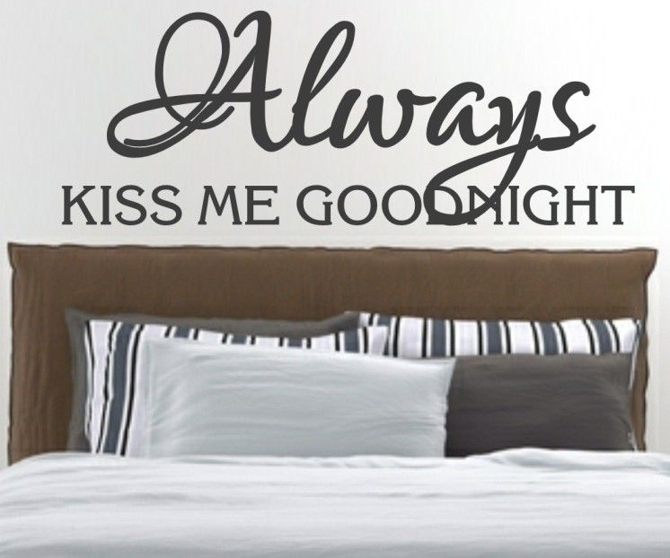 Vinyl lady always kiss me goodnight romantic quote wall art sticker dark grey