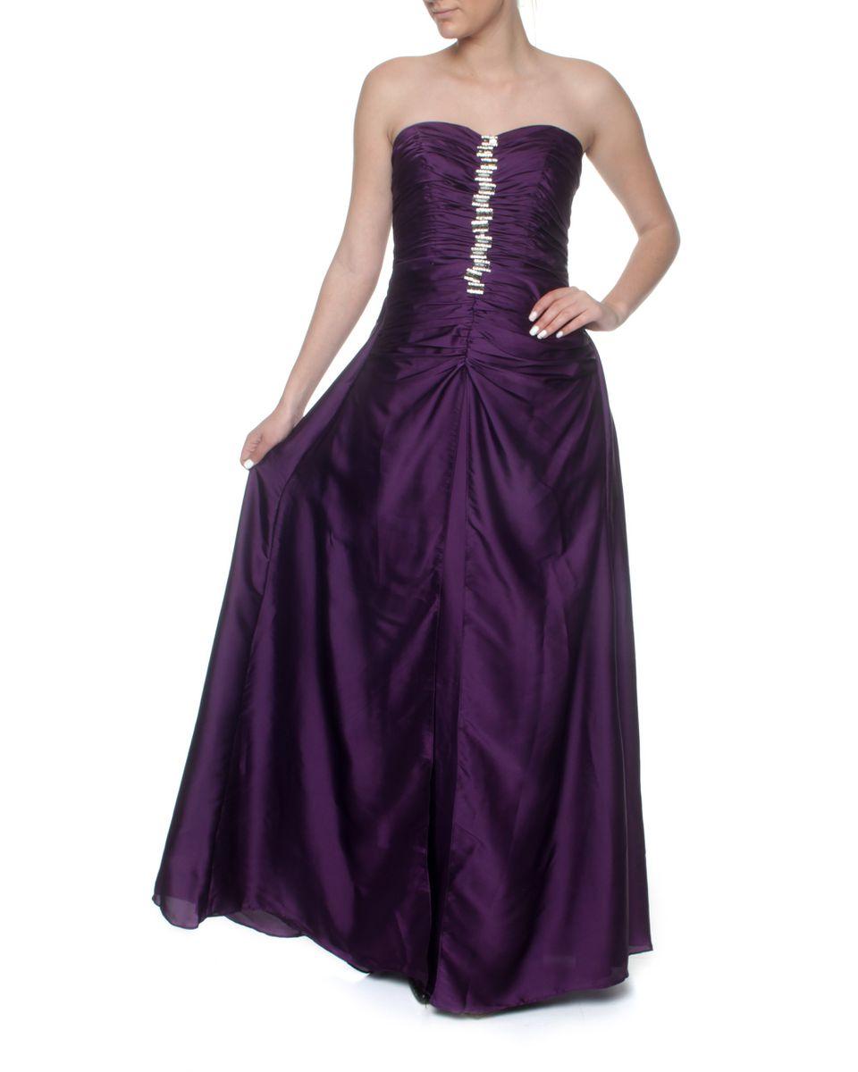 Snow White Classy Deep Purple Strapless Evening Gown - Purple ...