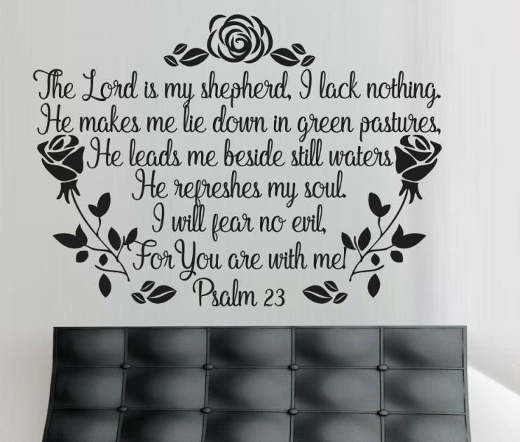 Vinyl lady decals psalm 23 roses wall art sticker dark grey