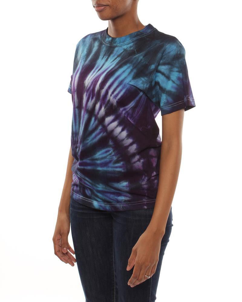 Original hippies tie dye unisex t shirt purple blue for Purple and blue shirt