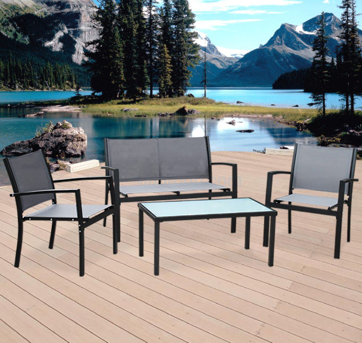 Fine Living - 4 Piece Outdoor Steel Furniture - Black ... on Fine Living Patio Set id=56166
