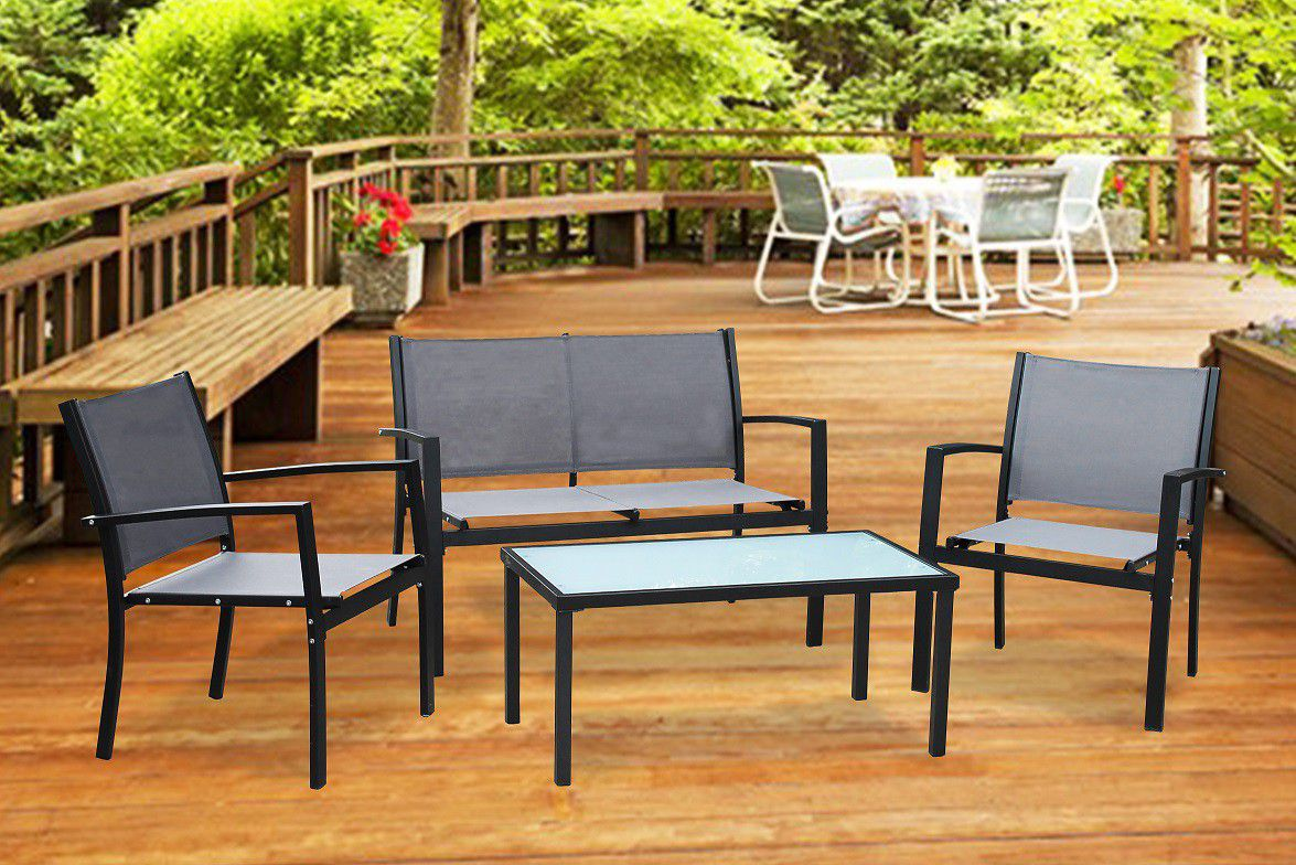 Fine Living - 4 Piece Outdoor Steel Furniture - Black ... on Fine Living Patio Set id=65136