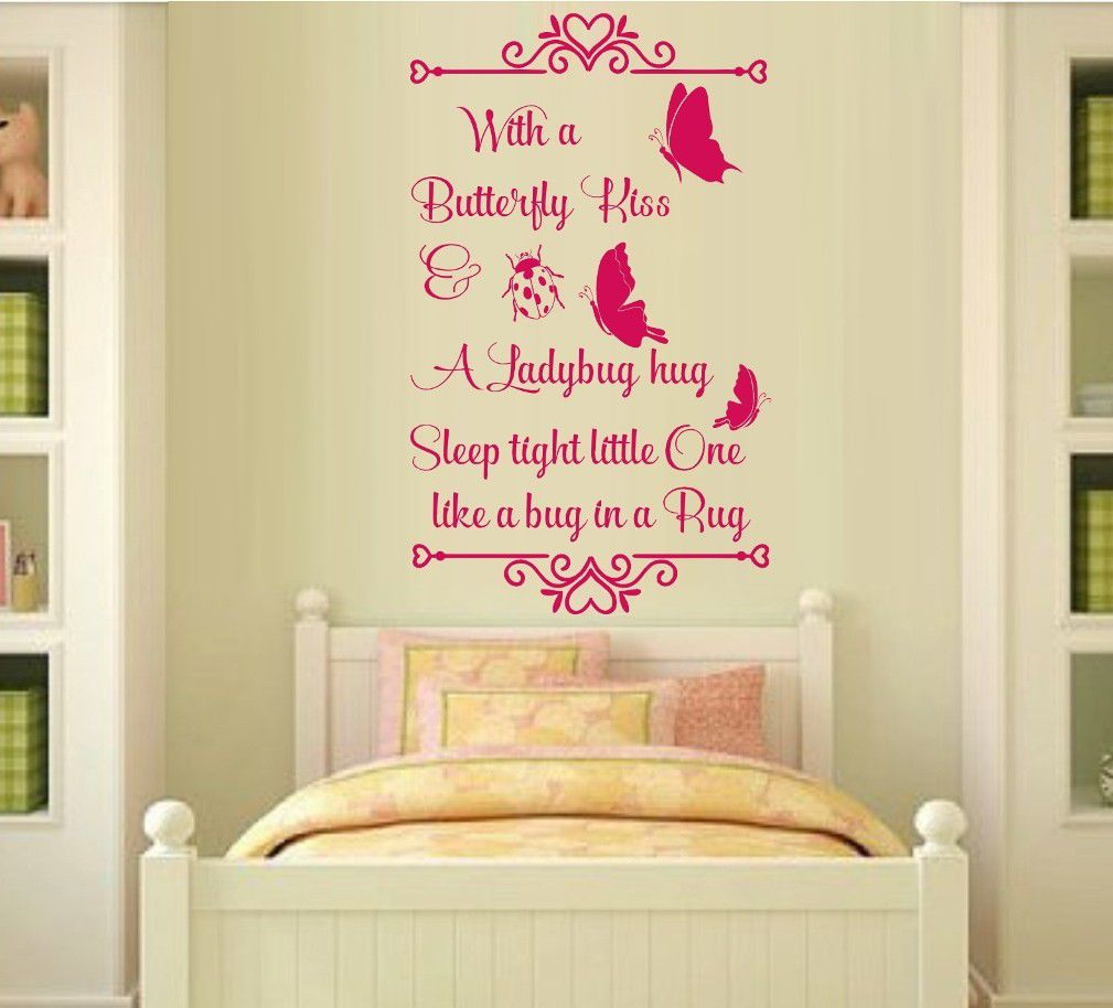 Vinyl Lady Decals A Butterfly Kiss Quote Wall Art Sticker - Pink ...