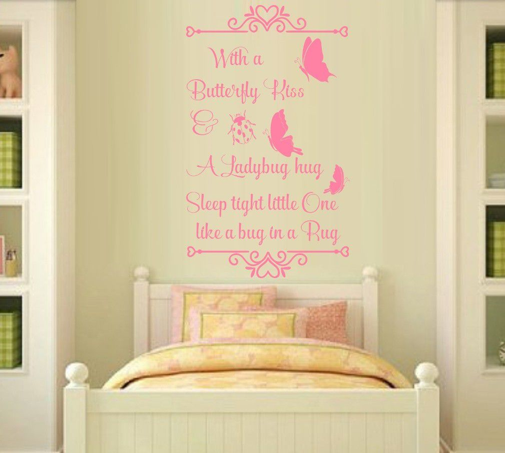 Vinyl Lady Decals A Butterfly Kiss Quote Wall Art Sticker - Light ...