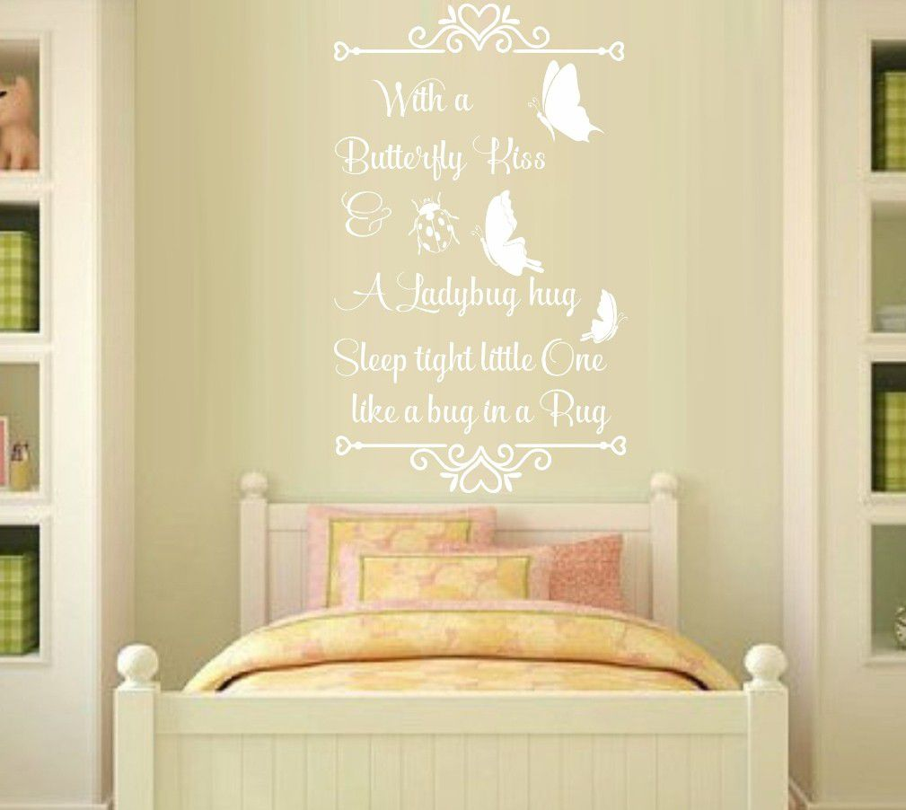 Vinyl Lady Decals A Butterfly Kiss Quote Wall Art Sticker - White ...