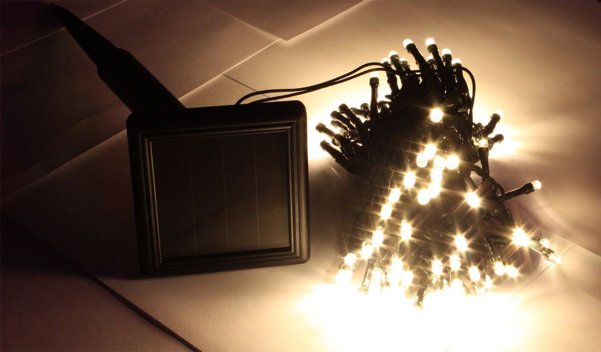 christmas lights solar warm white