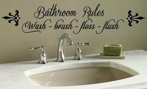Vinyl Lady Decals Bathroom Rules Quote Wall Art Sticker   Black