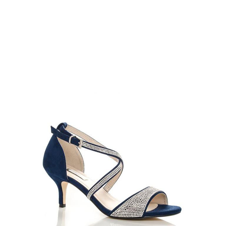 Quiz Navy Diamante Low Heel Sandals Buy Online In South Africa