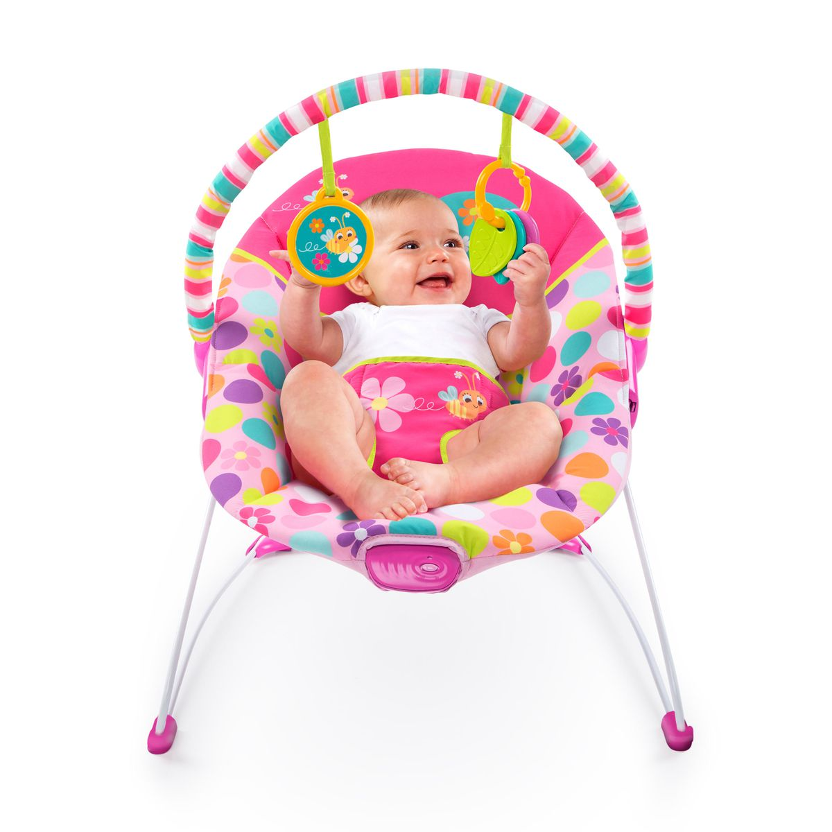 bright starts vibrating bouncer pretty pink safari buy online in south africa. Black Bedroom Furniture Sets. Home Design Ideas