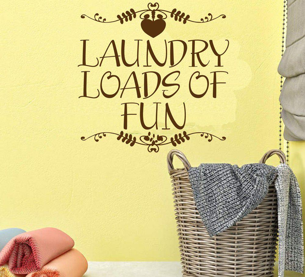 Vinyl Lady Decals Laundry Loads Of Fun Wall Art Sticker - Brown ...