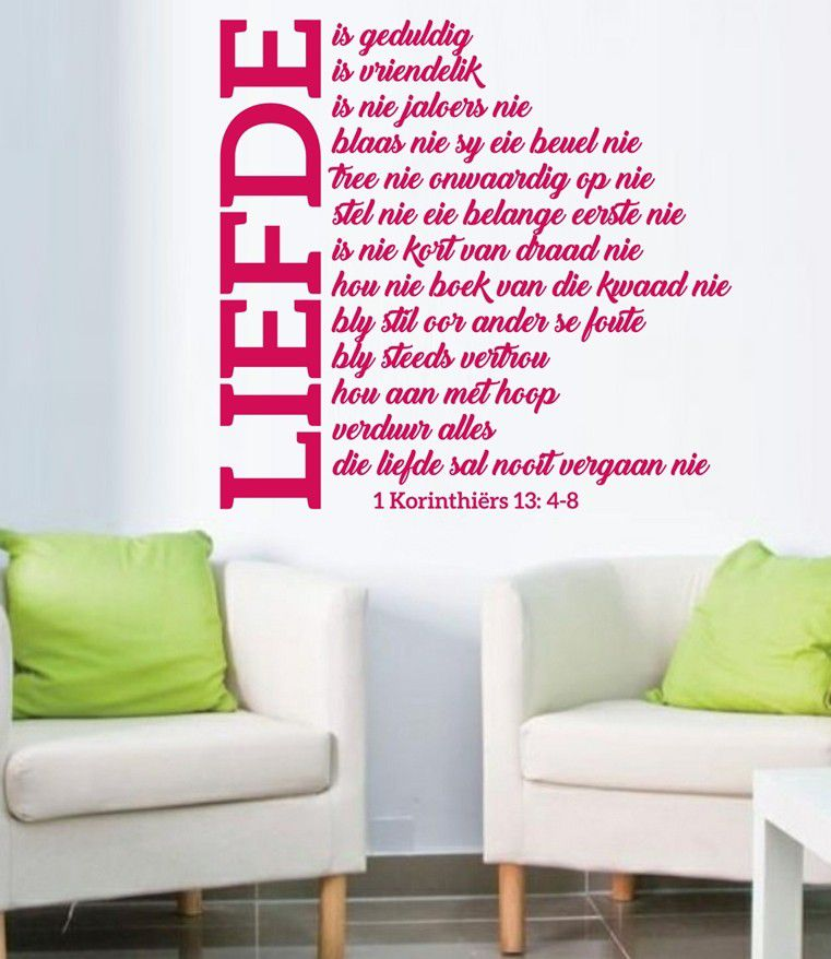 Vinyl Lady Decals Liefde 1 Korinthiers 13:4-8 Wall Art Sticker ...