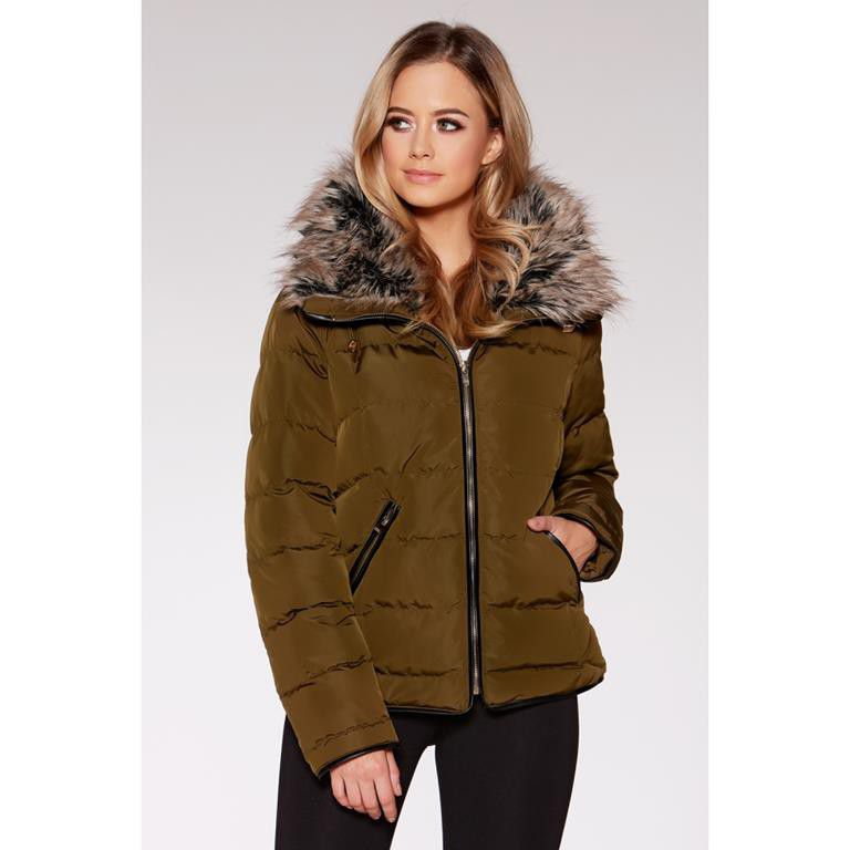 Quiz padded faux fur collar parka jacket