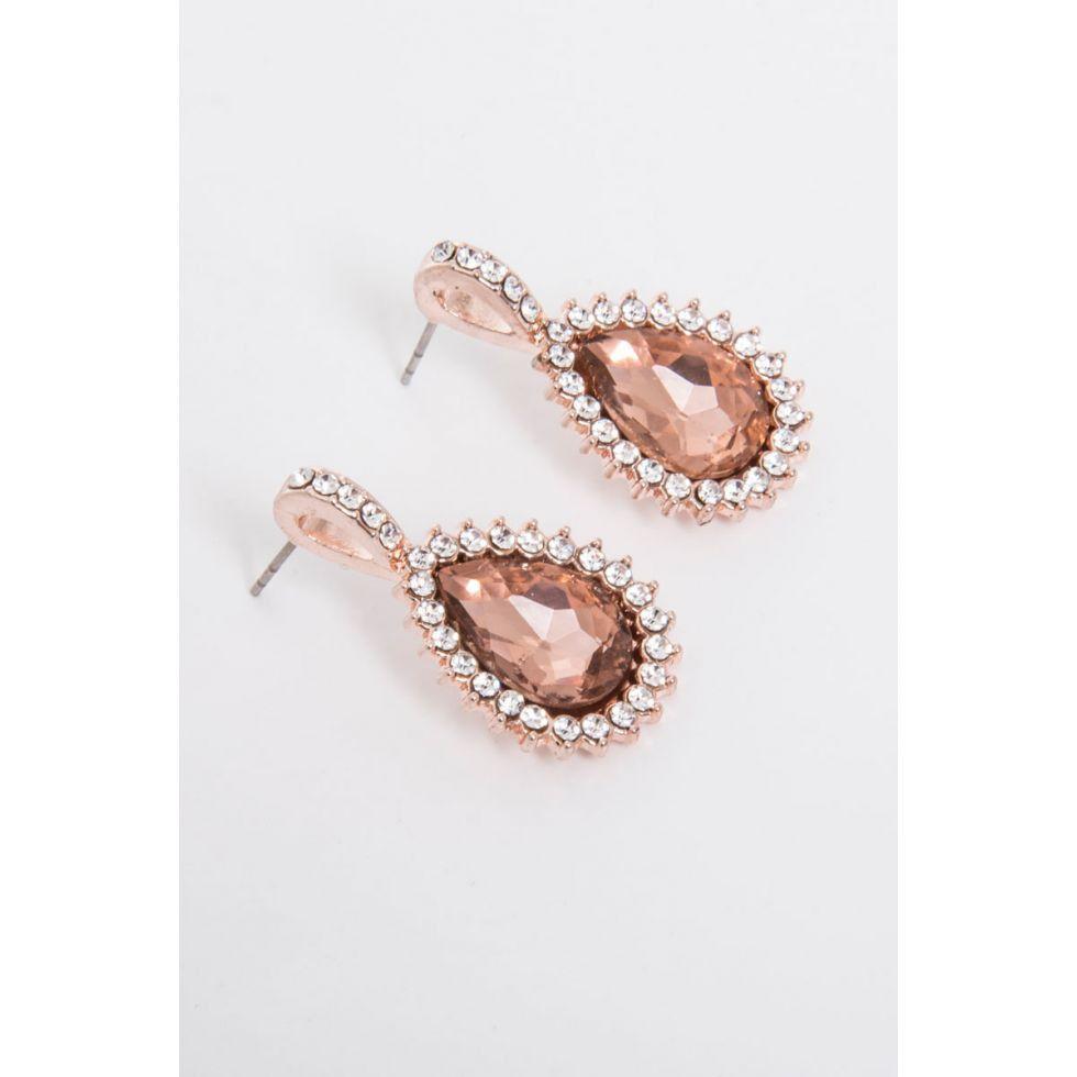 Quiz Jewel Diamante Earrings Rose Gold Buy Online in South