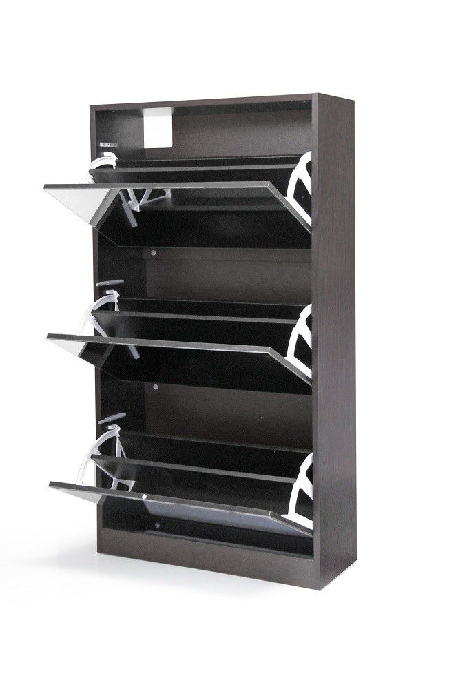 Fine Living Mirror Shoe Cabinet 3 Tier Wenge