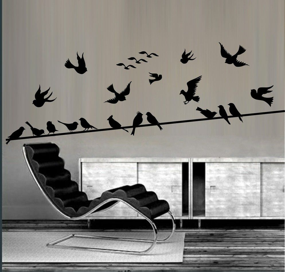 Vinyl Lady Decals Birds On A Wire Wall Art Sticker - Black | Buy ...