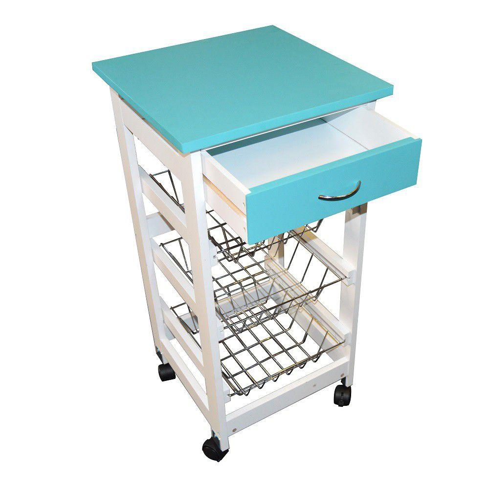 Eco - Kitchen Trolley With Baskets & Drawer - Blue - 170160790-BLU ...