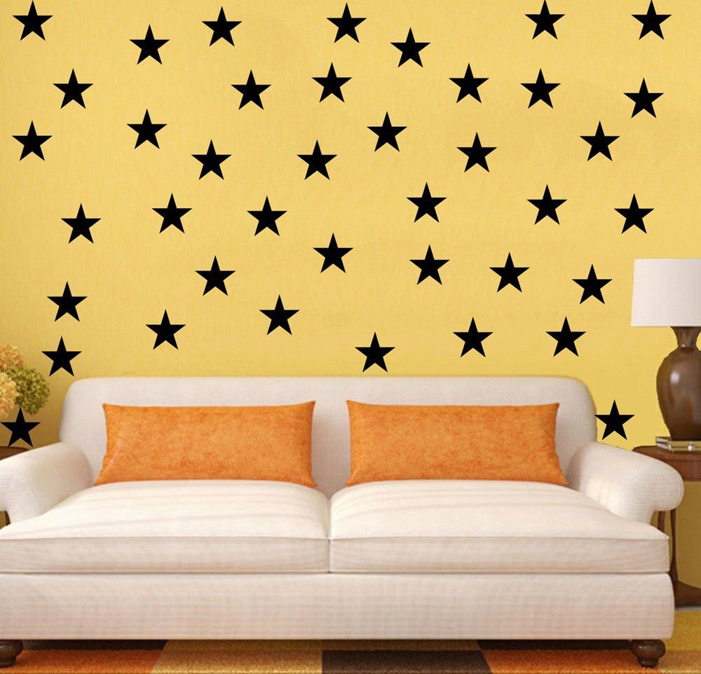 Vinyl Lady Decals 5 Pointed Stars Wall Art Stickers - Black | Buy ...