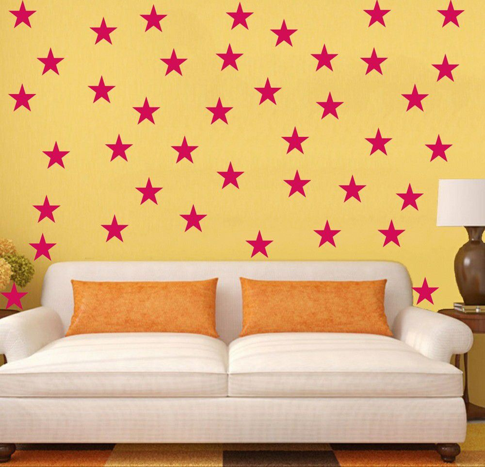 Vinyl Lady Decals 5 Pointed Stars Wall Art Stickers - Pink | Buy ...