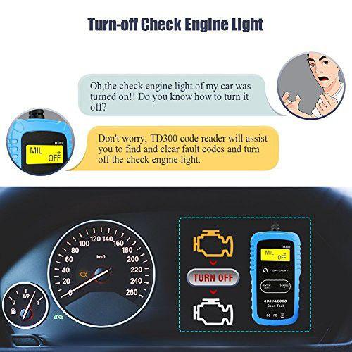 TOPDON TD300 OBD2 Scanner Code Reader With Engine Light Turn Off Awesome Design