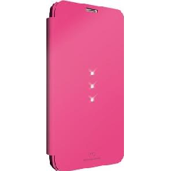 White Diamond Crystal Booklet for Samsung Galaxy S5  - Pink