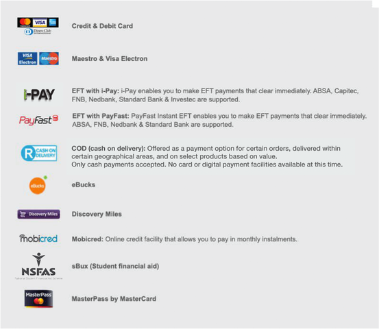 Takealot Payment Options