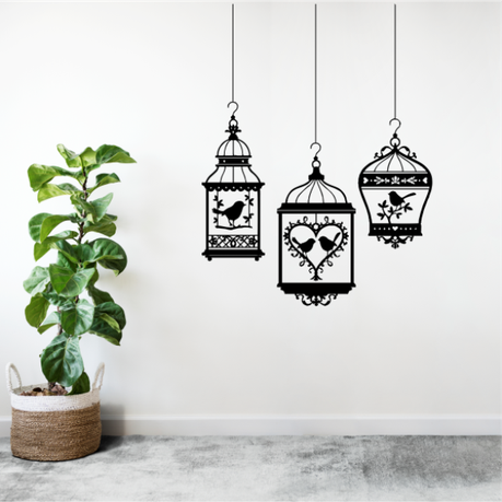 3 Hanging Bird Cages Vinyl Wall Art Buy Online In South Africa Takealot Com