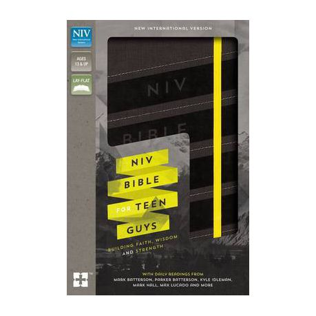 NIV, Bible for Teen Guys, Leathersoft, Charcoal, Elastic Closure