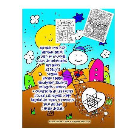 Aprende Con Jose Aprende Ingles Libro De Colorear Libro De Actividades Para Ninos 23 Dibujos Original Hecho A Mano Incluyendo Saludos En Ingles O Hebr