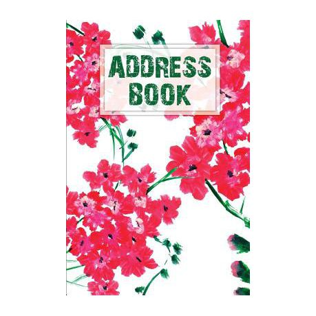 address book pink floral watercolor 6x9 alphabetical email