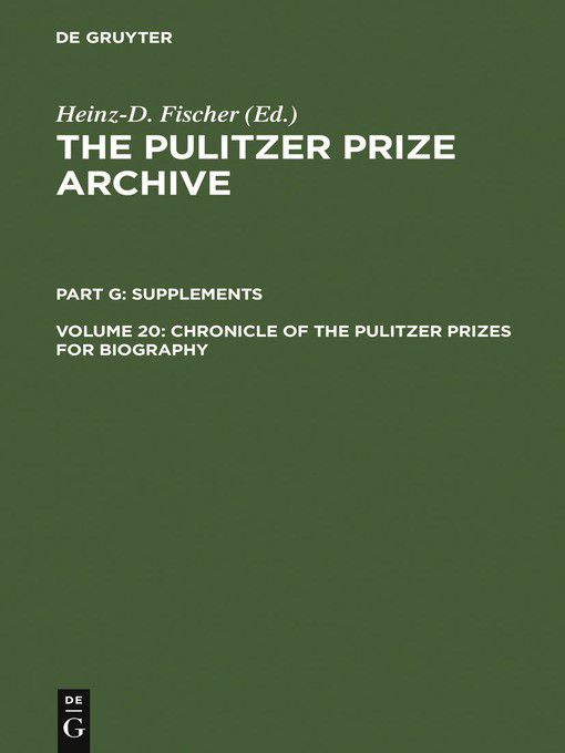 Pulitzer prizes for biography