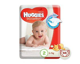Huggies Dry Comfort - Size 2 x 66 Nappies (5-7kg)