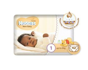 Huggies - New Baby - Size 1 x 42 Nappies (up to 6kg)
