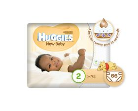 Huggies - New Baby - Size 2 x 66 Nappies (5-7kg)