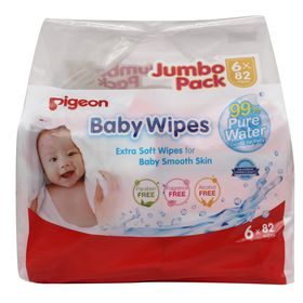 Pigeon - Baby Wipes 82's with 99% Pure Water 6-In-1 Refill Pack